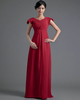Column V-neck Floor-length Chiffon Cap Sleeves Tiered Evening Dresses
