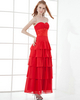 A-line Sweetheart Strapless Ankle-length Chiffon Tiered Prom Dresses
