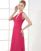 Column V-neck Ankle-length Chiffon Evening Dresses