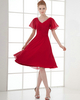 A-line V-neck Knee-length Chiffon Short Sleeve Tiered Cocktail Dresses
