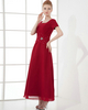 A-line Square Ankle-length Chiffon Short Sleeve Evening Dresses With Beading