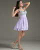 A-line V-neck Straps Short Chiffon Sequin Beading Homecoming Dresses