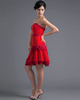 A-line Tube Top Strapless Short Chiffon Tiered Prom Dresses