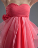 A-line Sweetheart Strapless Knee-length Chiffon Flower Prom Dresses