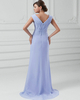 Column V-neck Brush Train Chiffon Split Front Evening Dresses