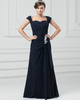 A-line Sweetheart Floor-length Chiffon Cap Sleeves Crystal Evening Dresses