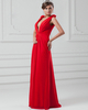 Column V-neck Floor-length Chiffon Plunging Draped Prom Dresses