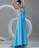 Column One Shoulder Brush Train Chiffon Backless Prom Dresses With Split Front