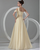 A-line One Shoulder Floor-length Chiffon Draped Evening Dresses