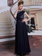 Column Bateau Floor-length Lace Beading Draped  Evening Dresses