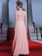 A-line Bateau Floor-length Chiffon Flower Beading Evening Dresses With Sequin