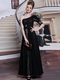 A-line One Shoulder Floor-length Lace Bubble Sleeve Lace Evening Dresses