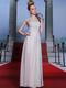 A-line Bateau Floor-length Chiffon Semi Transparent Prom Dresses With Crystal