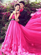 A-line Tube Top Sweep Chiffon Rhinestone Flower Prom Dresses