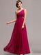 Column One Shoulder Floor-length Chiffon Crystal Evening Dresses With Sequin