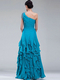A-line One Shoulder Floor-length Chiffon Ruffles Prom Dresses With Beading