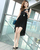 Sheath Scoop Mini Chiffon High Low Black Prom Dresses