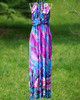 Sheath V-neck Halter Ankle-length Chiffon Print Fuchsia Maxi Dresses