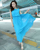 Sheath Scoop Ankle-length Chiffon Blue Maxi Dresses