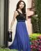 Sheath Scoop Ankle-length Chiffons Royal Blue Sashe Maxi Dresses