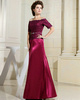 Terrific A-line Elastic Silk-like Satin Off-the-shoulder Lace Evening Dresses