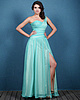 Glorious A-line Chiffon One shoulder Split Front Evening Dresses