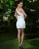 Sheath Short White One Shoulder Cocktail Dresses with Rhinestone
