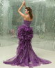 Graceful Princess Organza Asymmetrical Train Crystal Prom Dresses