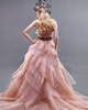 Princess Sweetheart Brush Train Organza Bowknot Tiered Prom Dresses
