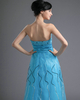 A-line Sweetheart Floor-length Organza Sequin Tiered Prom Dresses