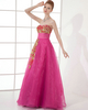 A-line Strapless Floor-length Organza Sequin Prom Dresses