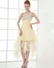 A-line One Shoulder Knee-length Organza Beading Cocktail Dresses With Crystal