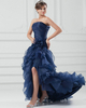 Princess Strapless Floor-length Organza Split Front Evening Dresses With Ruffle