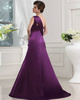 Glamorous A-line Satin One shoulder Sweep Prom Dresses