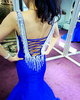 Mermaid Sweetheart Brush Train Satin Rhinestone Open Back Prom Dresses