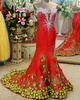 Mermaid Sweetheart Court Train Satin Crystal Prom Dresses With Flowers