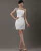Column One Shoulder Short Satin Sequin Short Sleeve Homecoming Dresses