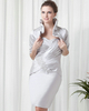 Sheath Sweetheart Knee-length Satin Short Sleeve Beading Cocktail Dresses With Jacket