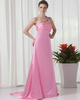 A-line One Shoulder Brush Train Satin Crystal Tiered Prom Dresses
