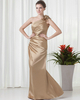 Girl Wear Dress Bound And Gagged Sheath One Shoulder Floor-length Satin Side-draped Evening Dresses