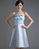 A-line Halter Knee-length Satin Flower Homecoming Dresses