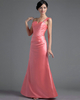 Over Hip One Shoulder Floor-length Satin Side-draped Evening Dresses