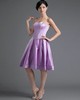 A-line Sweetheart Knee-length Satin Draped Homecoming Dresses