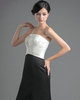 A-line Tube Top Strapless Floor-length Satin Tiered Prom Dresses