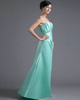A-line Tube Top Floor-length Satin Crystal Side-draped Prom Dresses