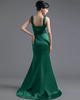 Column V-neck Straps Brush Train Satin Tiered Evening Dresses