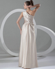 Column One Shoulder Floor-length Satin Side-draped Evening Dresses