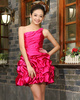 Princess One Shoulder Mini Stretch Satin Beading Pick-ups Homecoming Dresses