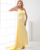A-line V-neck Straps Brush Train Stretch Satin Prom Dresses