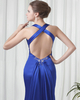 Over Hip V-neck Brush Train Stretch Satin Beading Split Front Prom Dresses